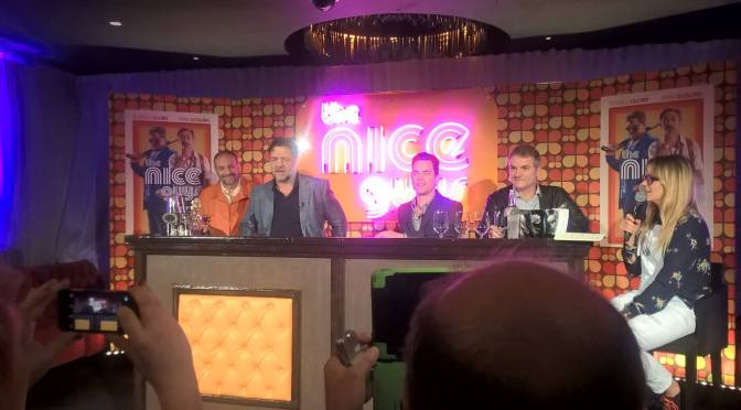 The Nice Guys Press Conference: Russell Crowe, Matt Bomer, Shane Black, and Joel Silver!