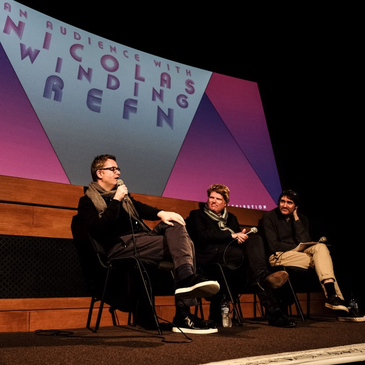 THE NEON DEMON Film-maker Nicolas Winding Refn in conversation with James Bond writers Robert Wade and Neal Purvis at the Prince Charles Cinema, Leicester Square